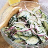 cucumber salad in a bowl