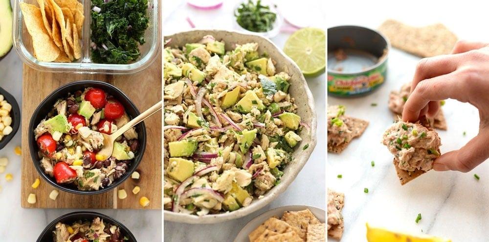 Three different tuna salad recipes.