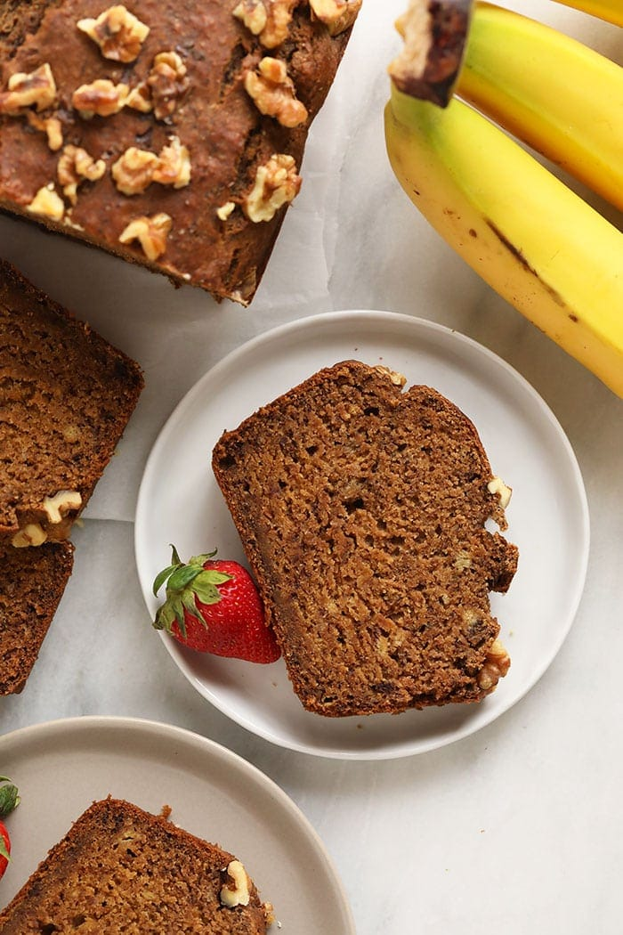 vegan banana bread on a plate