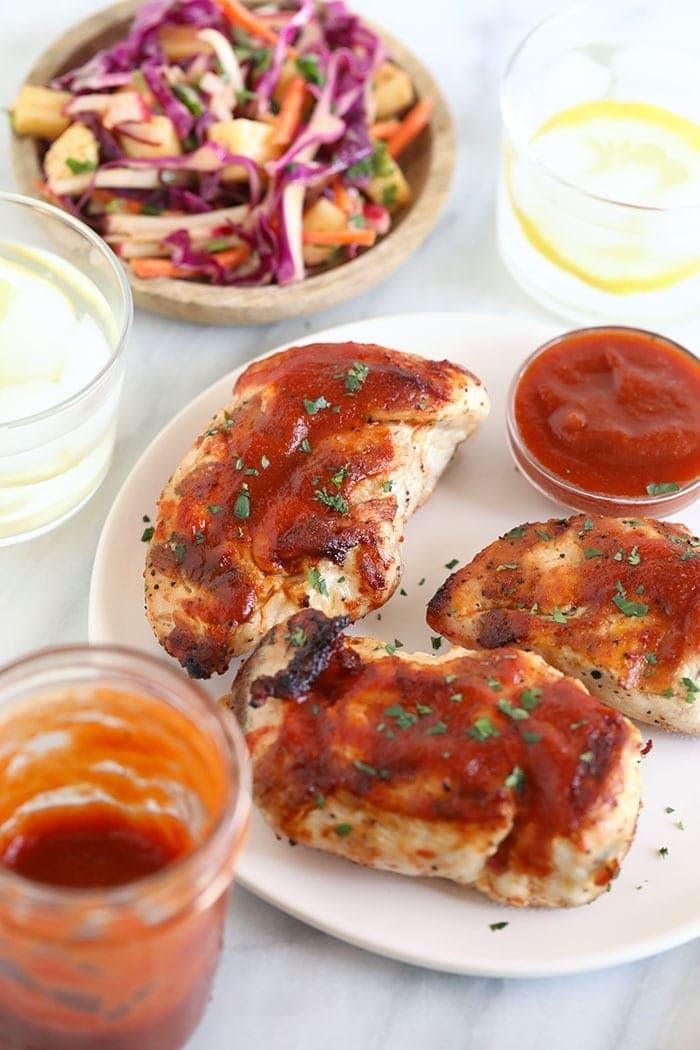 Grilled BBQ Chicken Breast on a plate.