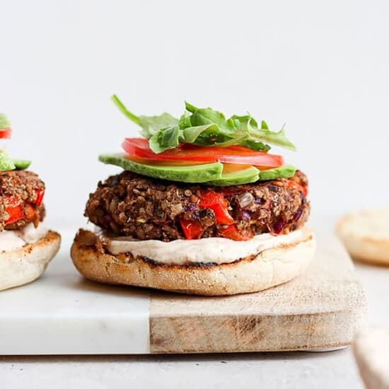 veggie burger on cutting board