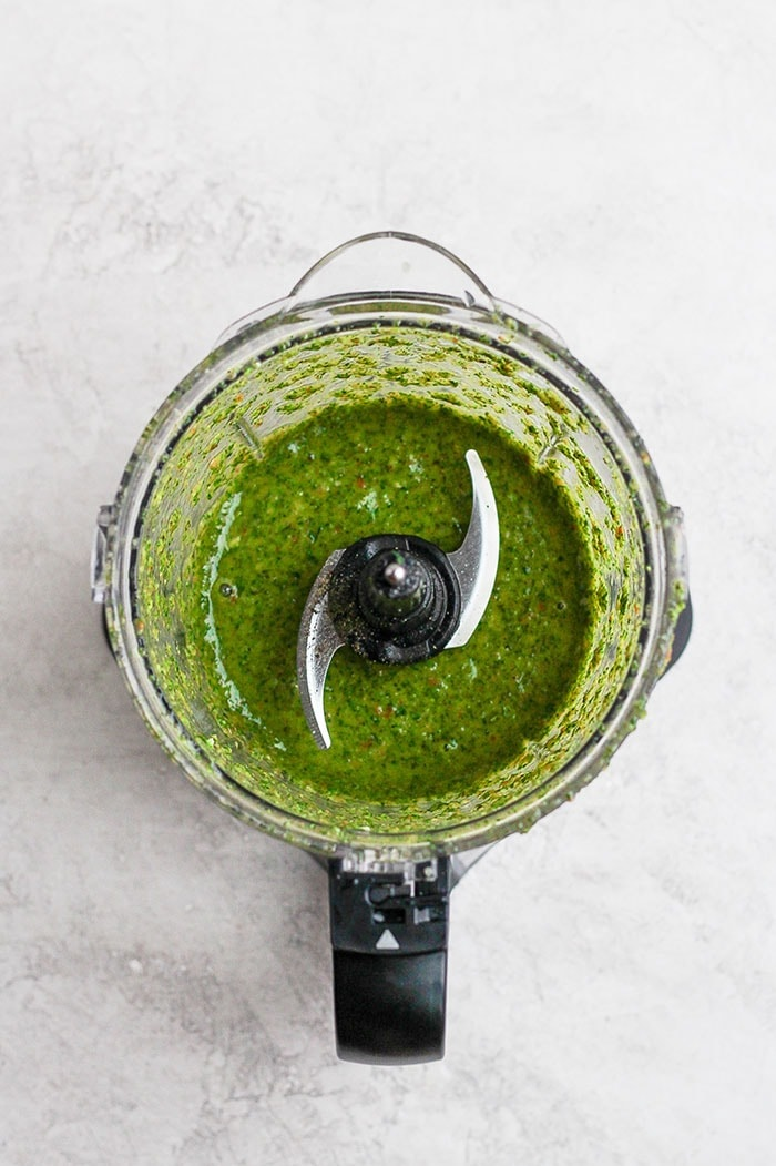chimichurri sauce mixed up in a food processor