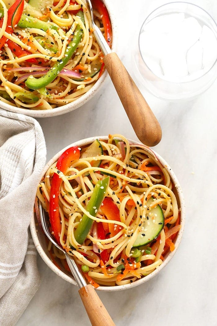 asian noodle salad in a bowl