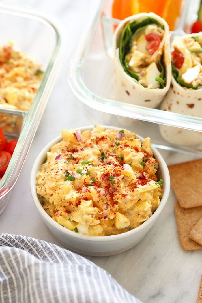 tuna egg salad recipe in a bowl