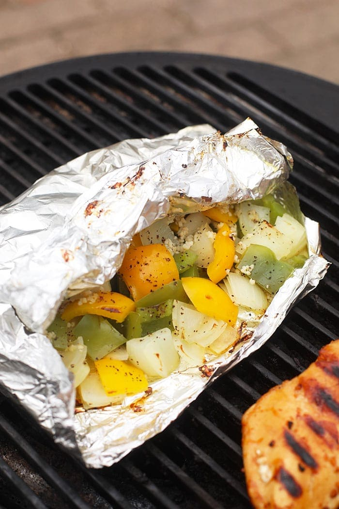 peppers and onions in foil pack on grill