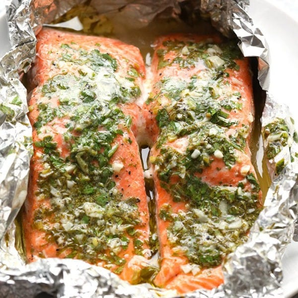 grilled salmon in foil pack with herbs and butter