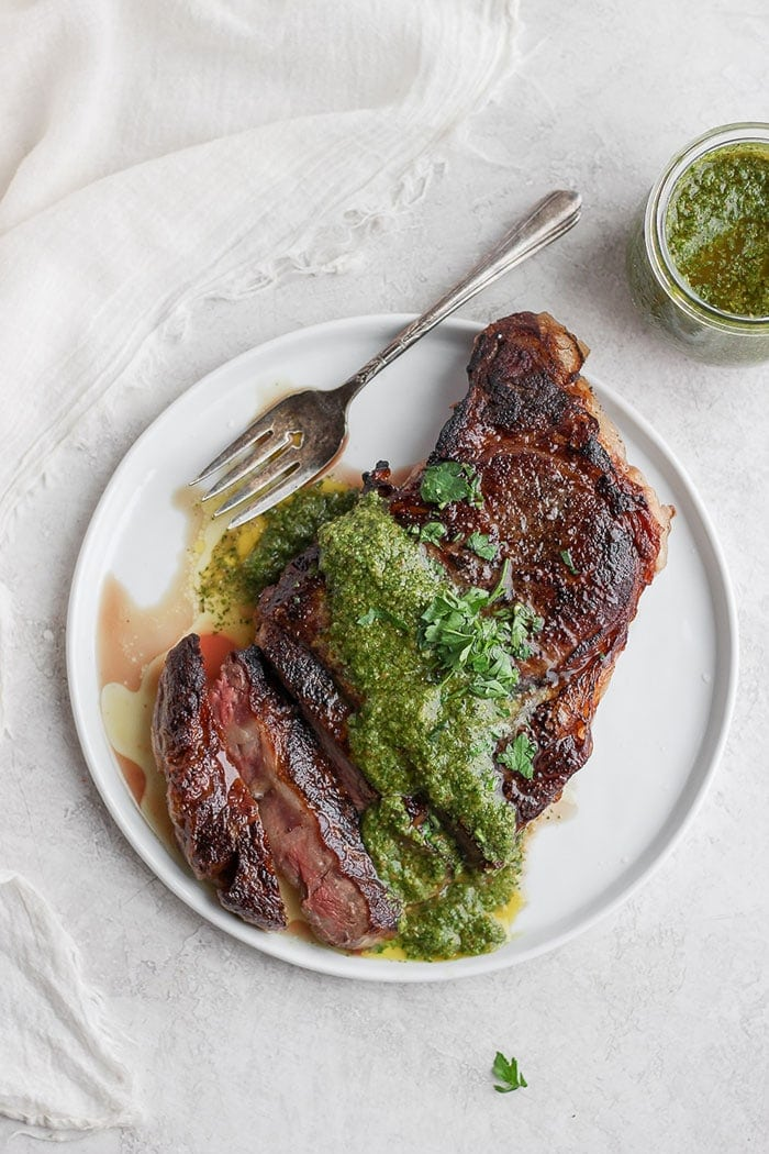 sous vide steak with chimmichuri