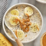 creamy banana overnight oats in a bowl