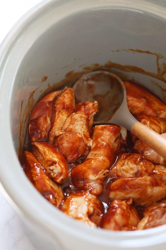 chicken wings in sauce in crockpot