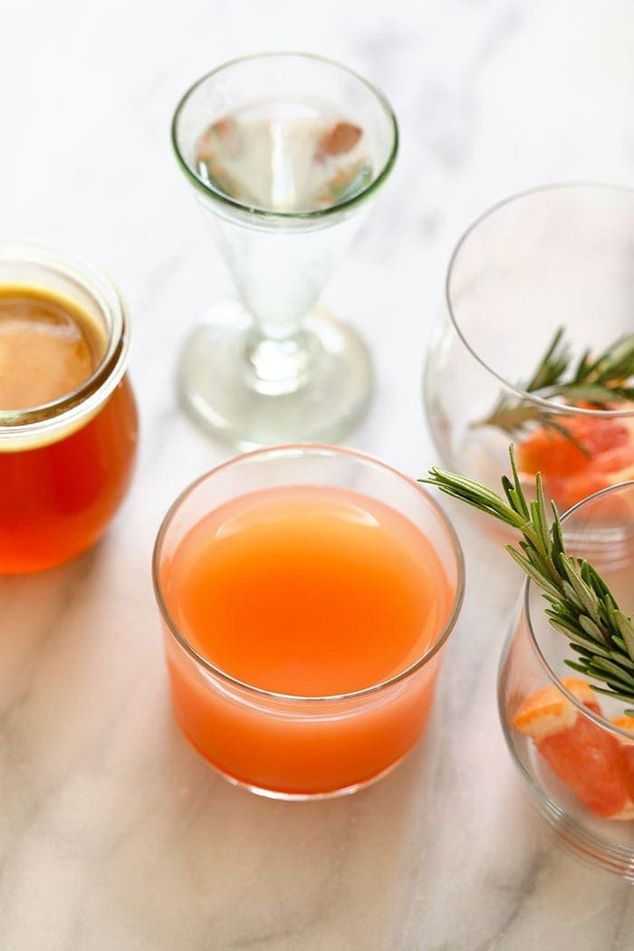 grapefruit juice in a glass
