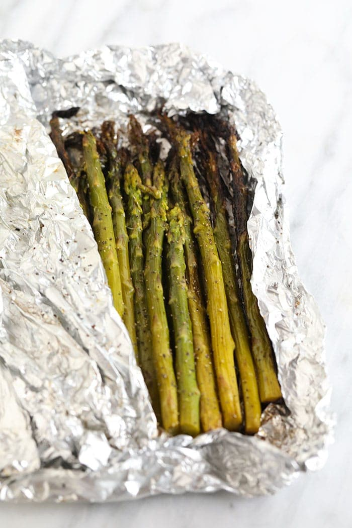 grilled asparagus in foil pack