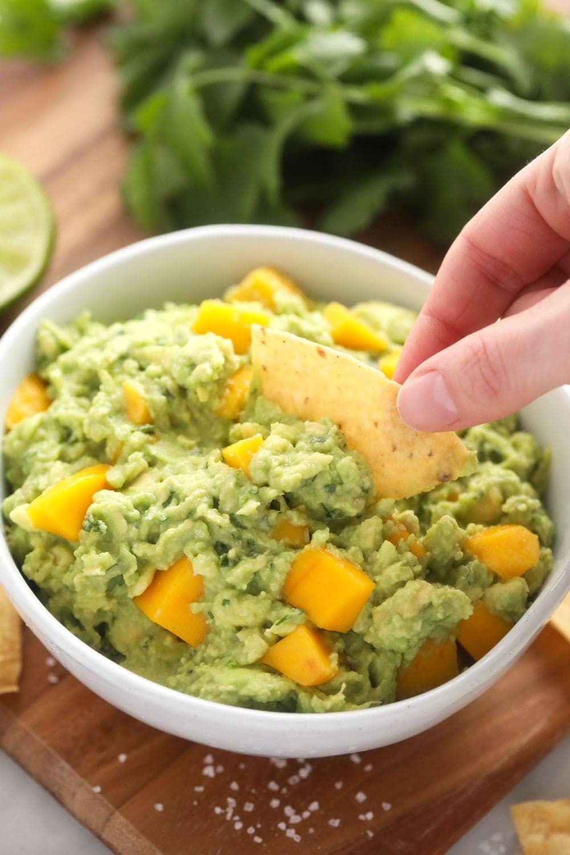mango guacamole with chip