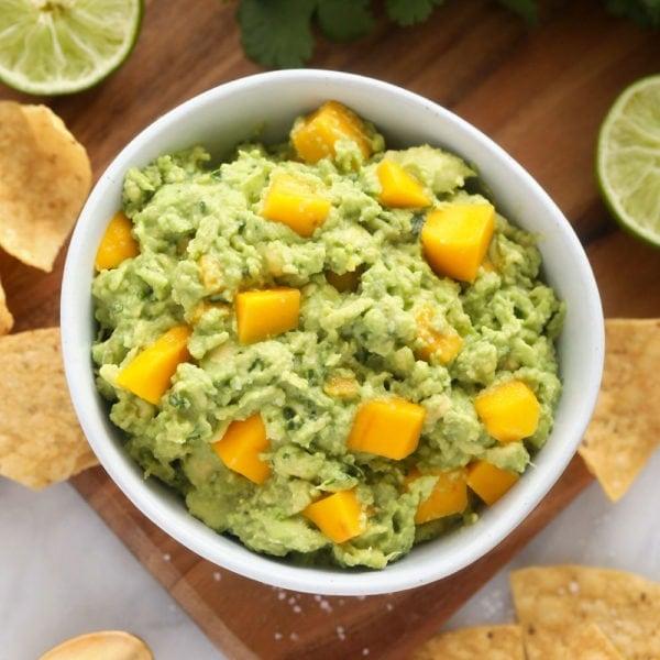 mango guacamole in bowl