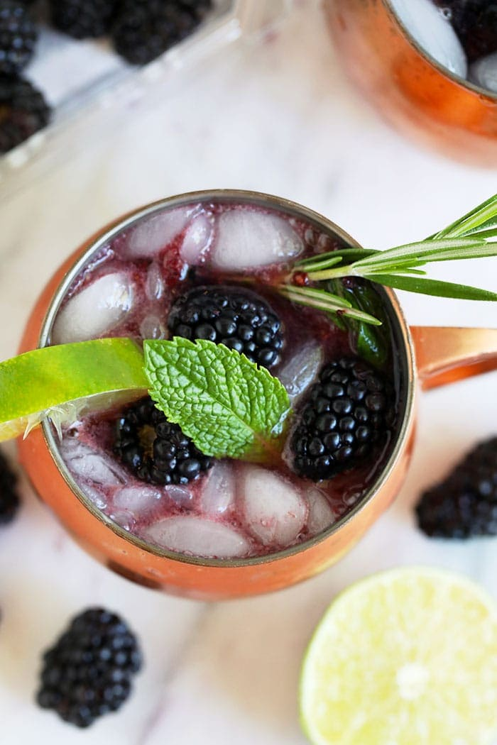 moscow mule with blackberries and mint