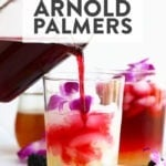 hibiscus arnold palmer drink in a glass