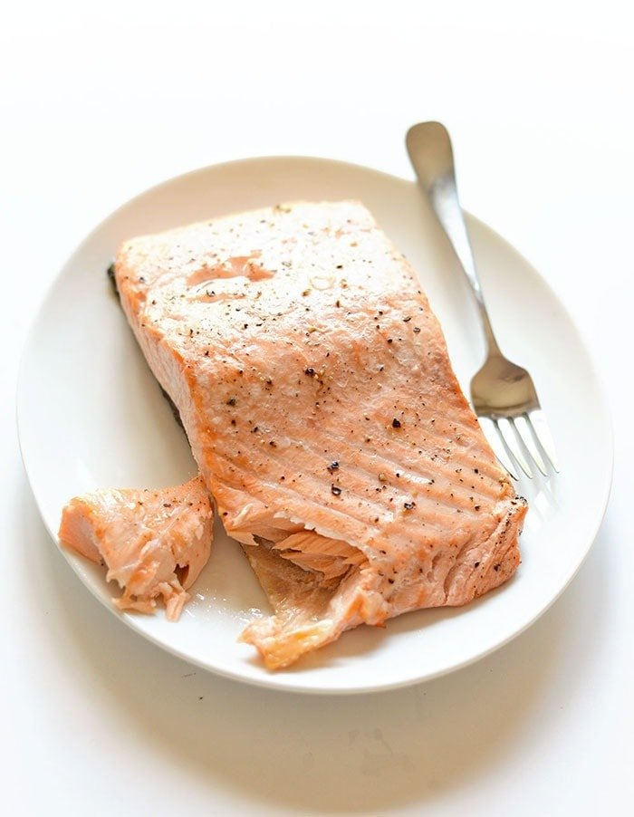 cooked salmon on plate