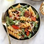 healthy BLT pasta in a dish ready to be eaten