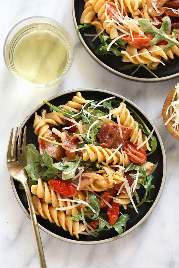 BLT pasta plated and ready to be eaten