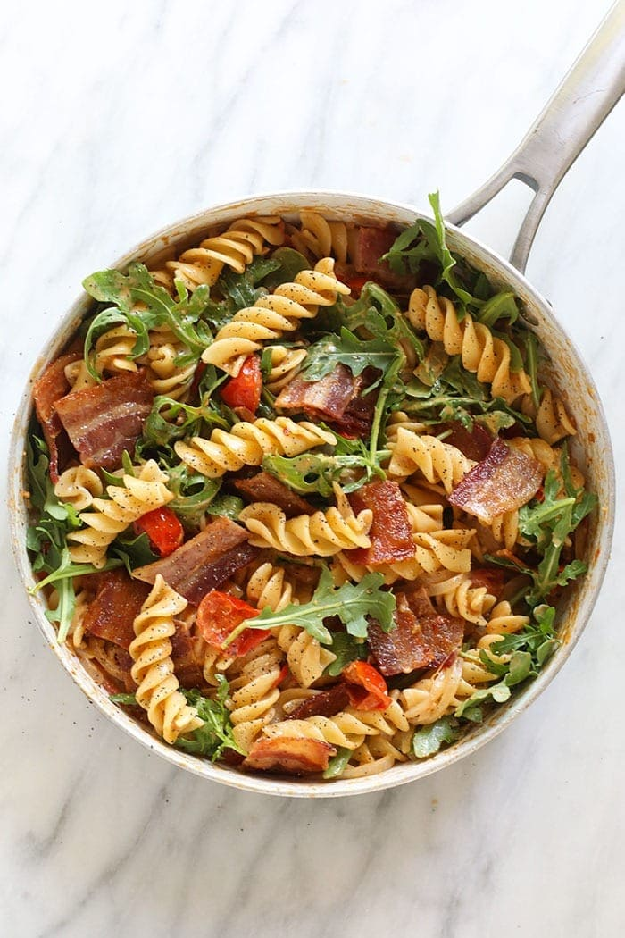 BLT pasta in a skillet ready to be served