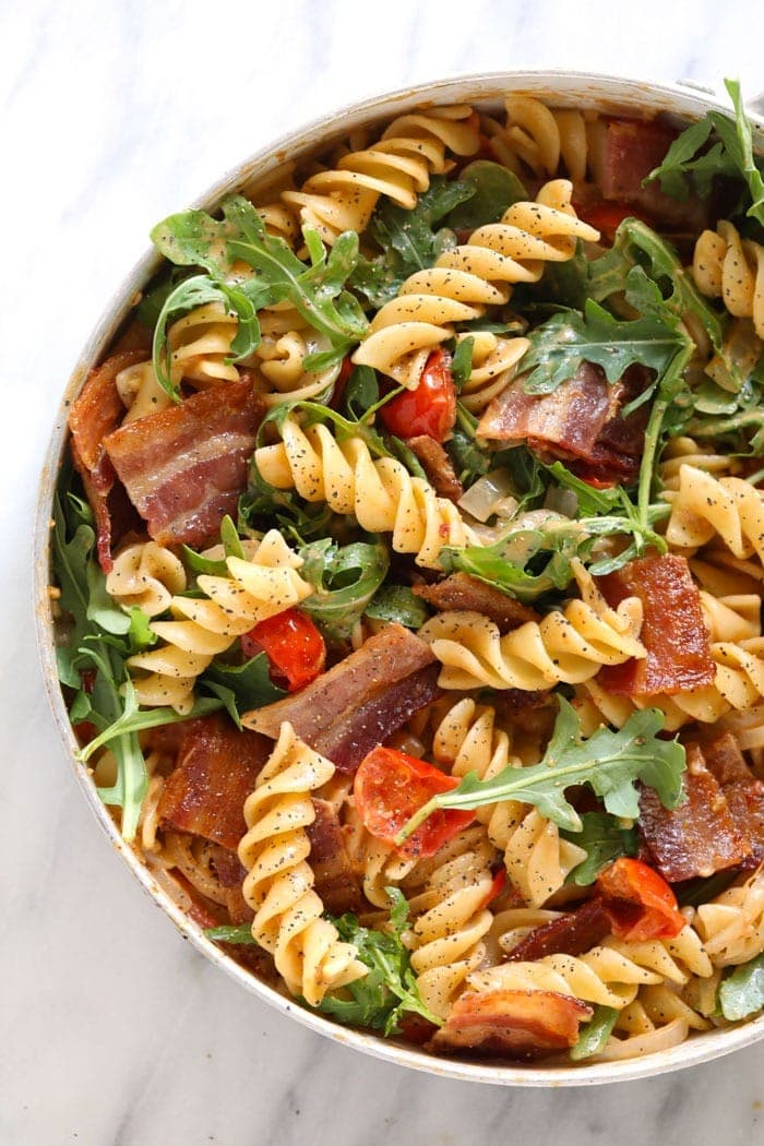 healthy BLT pasta in a skillet
