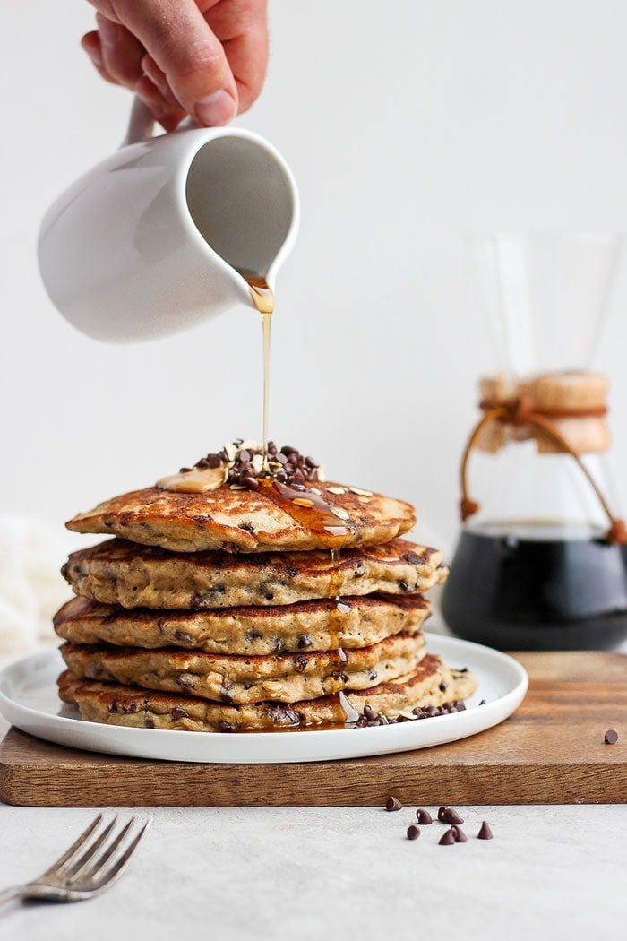 Healthy Chocolate Chip Pancakes Super Fluffy Fit Foodie Finds