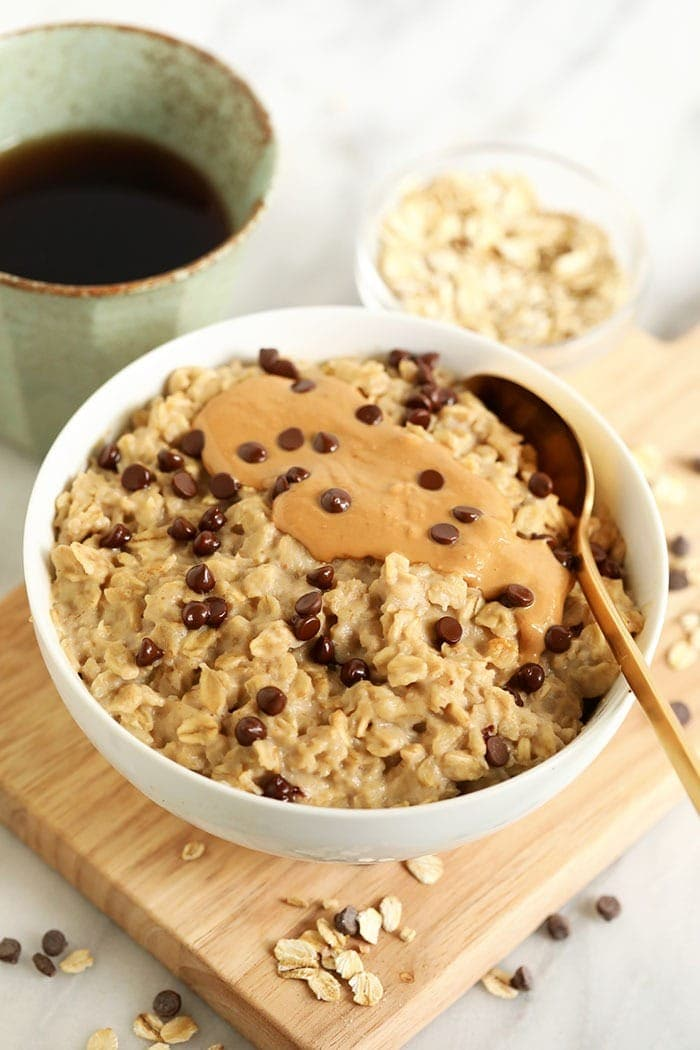 oatmeal with cashew butter and chocolate chips in bowl