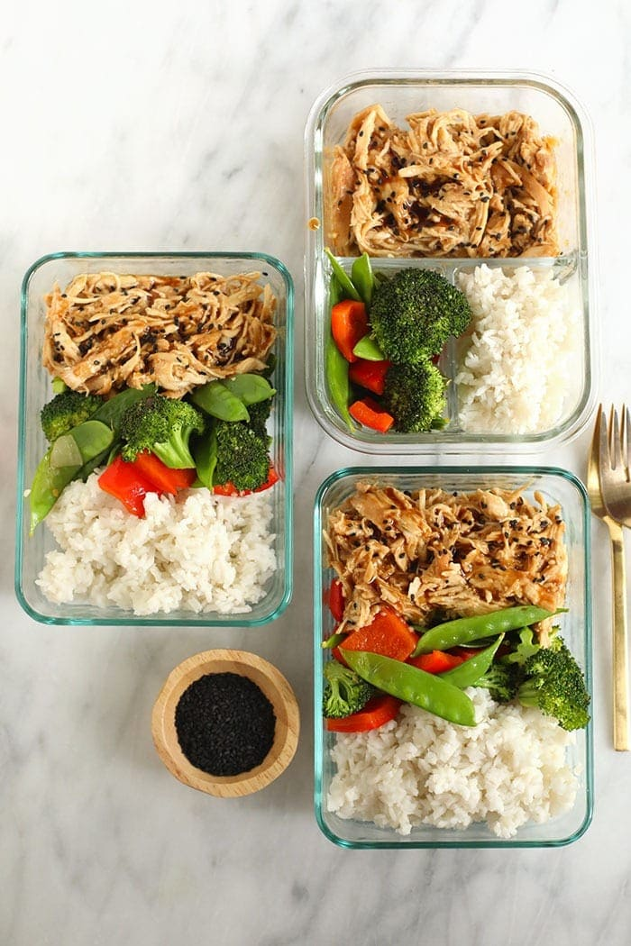 teriyaki chicken bowls in meal prep containers