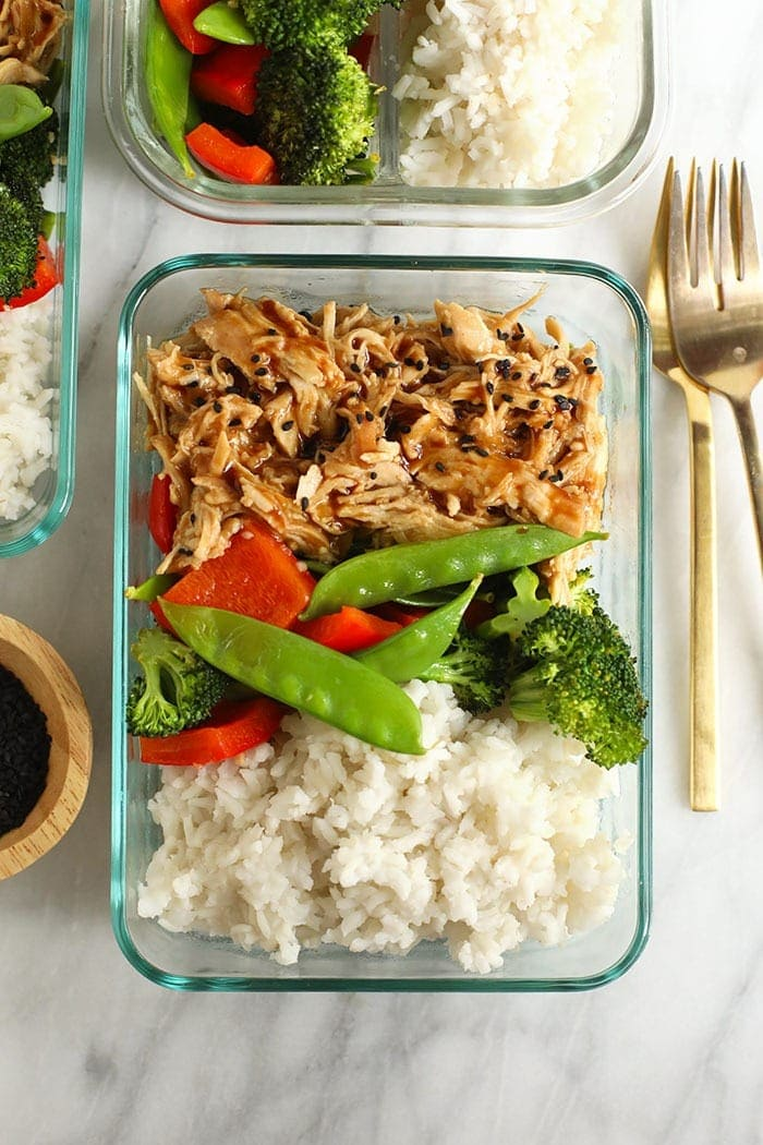teriyaki chicken and veggies in meal prep container