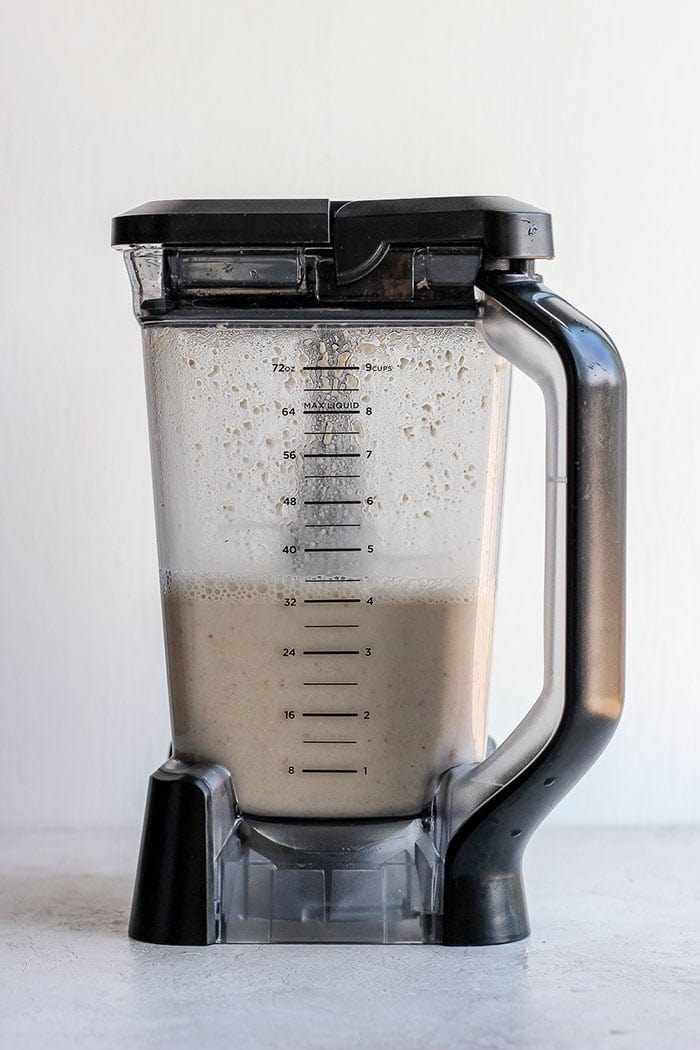 oat milk ingredients in a blender