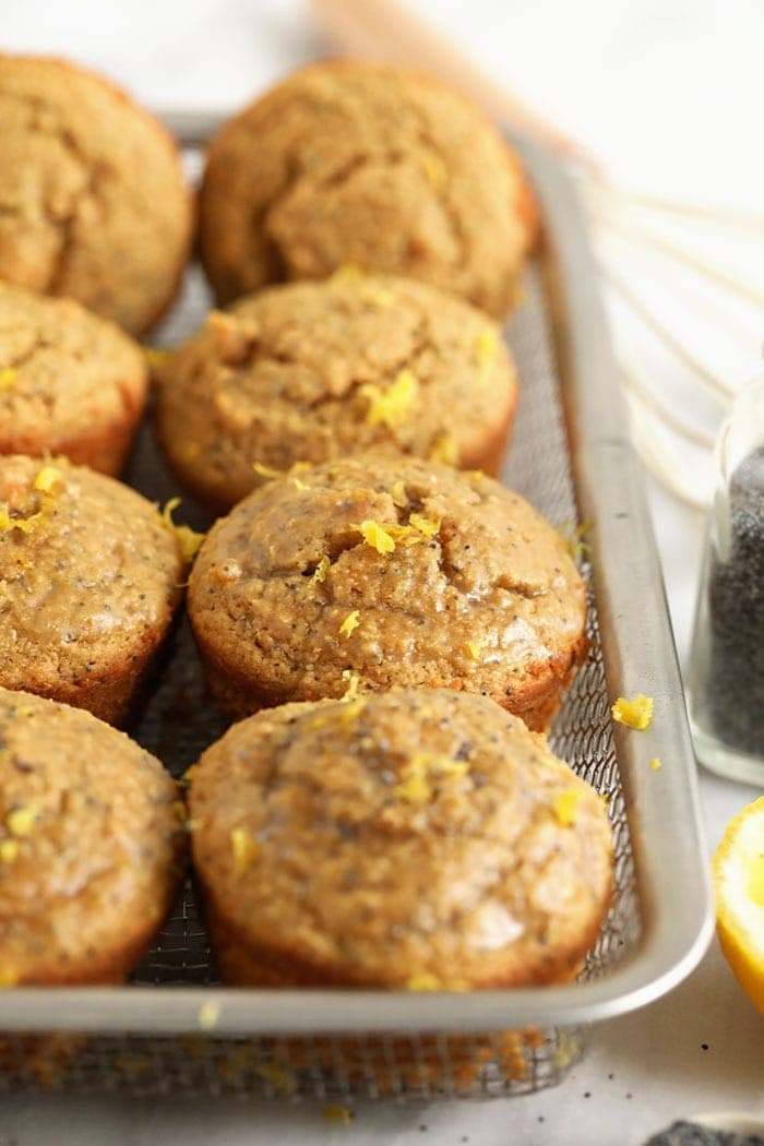 lemon poppy seed muffins in a basket