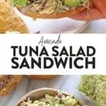 avocado tuna salad sandwich on a bagel