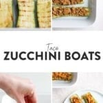 taco zucchini boats topped with cheese