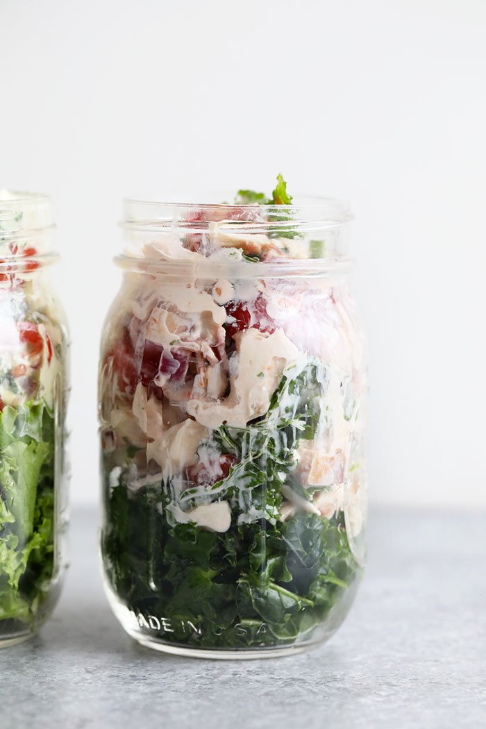 healthy BLT chicken salad in a mason jar