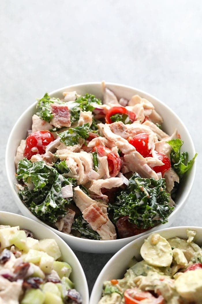 healthy BLT chicken salad in a bowl