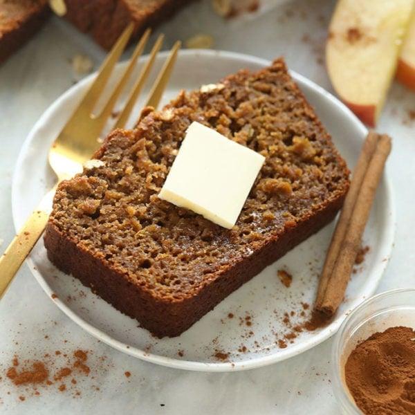 slice of cinnamon apple bread on a plate