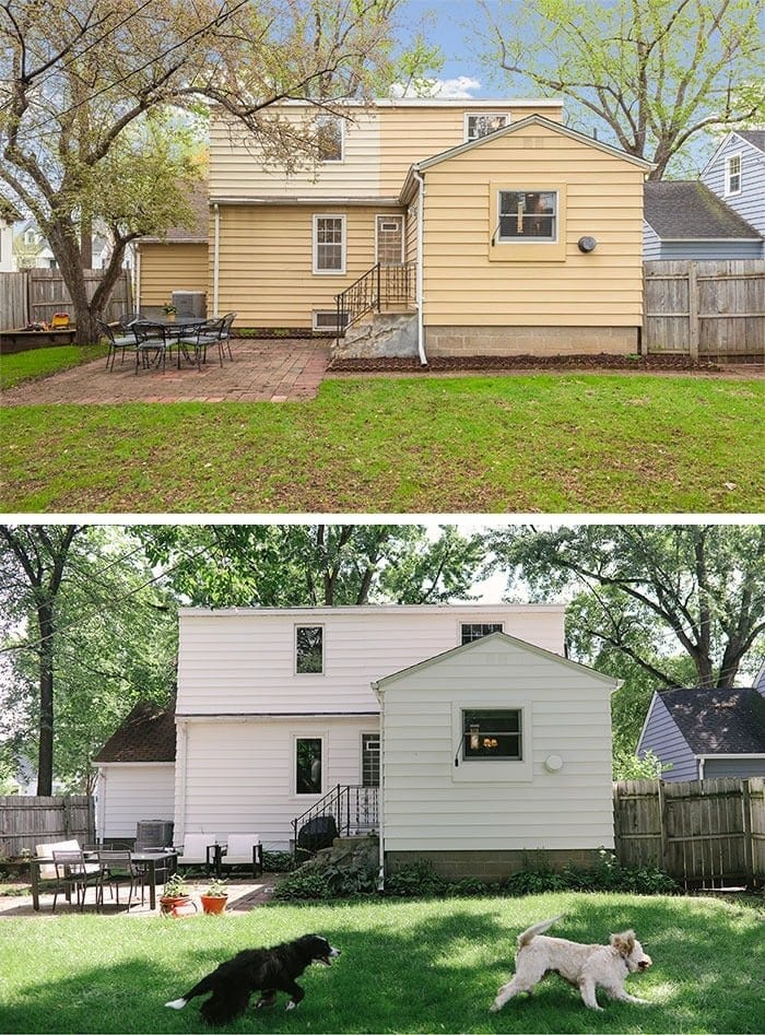 white painted siding before and after