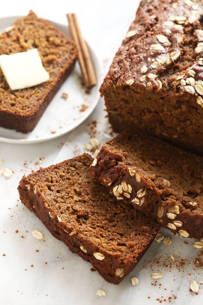 cinnamon apple bread loaf sliced