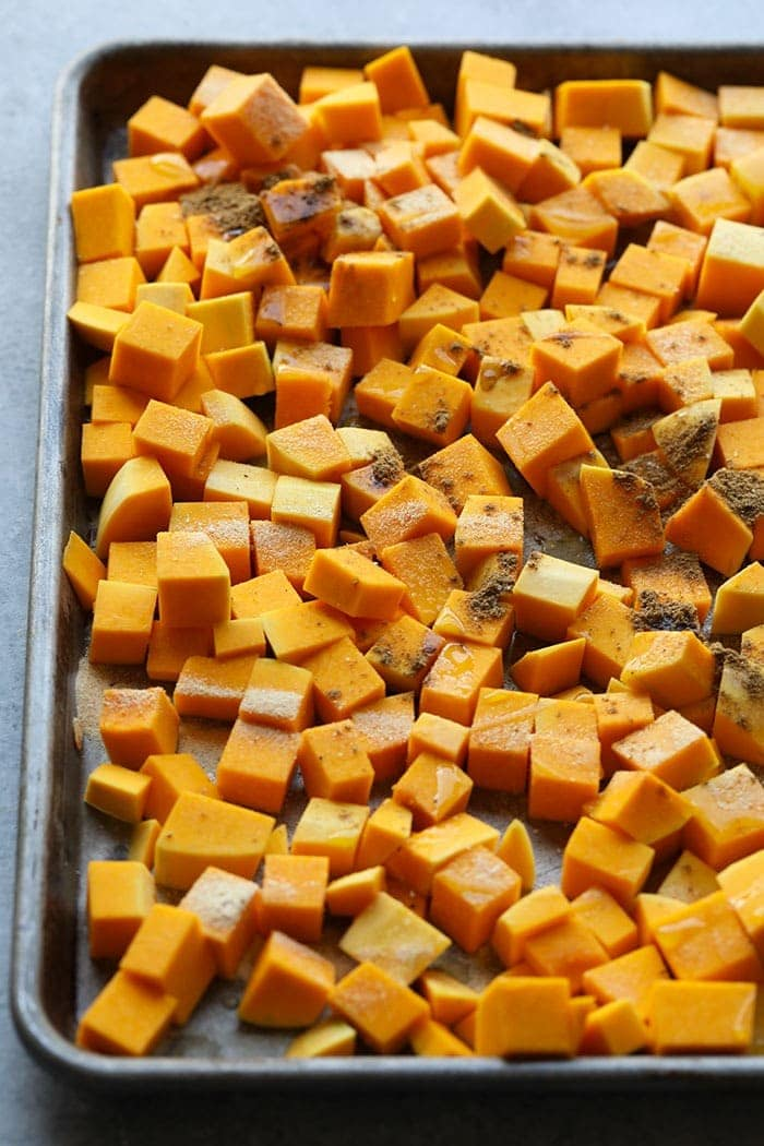 Butternut squash diced and ready to fry.