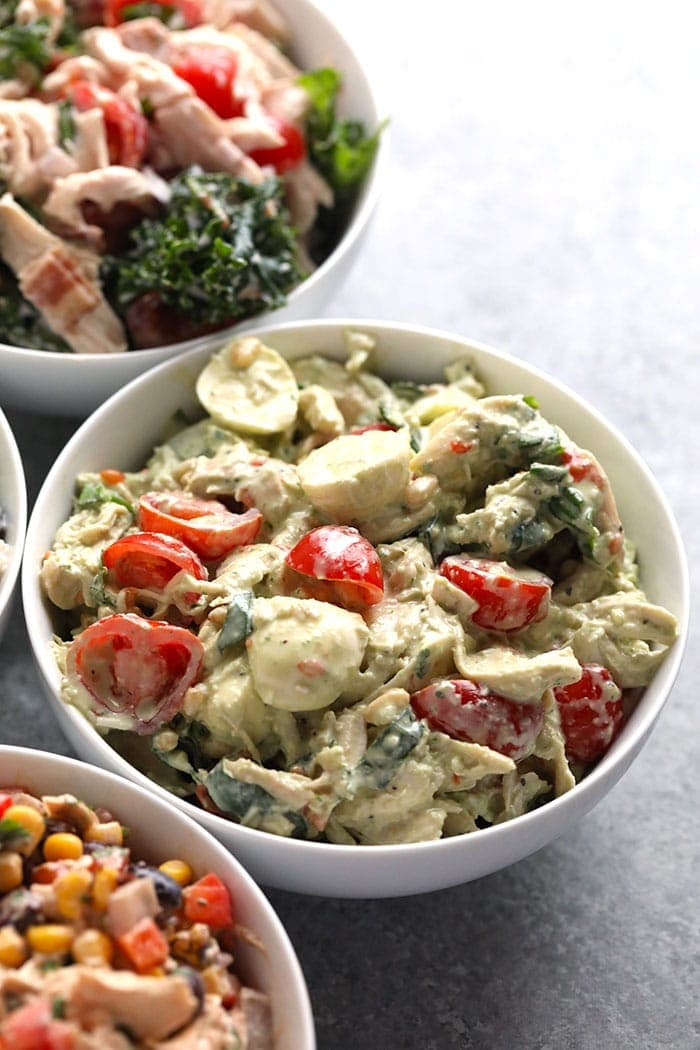 pesto chicken salad in a bowl