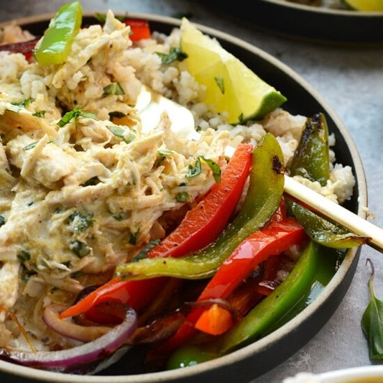 Slow cooker shredded chicken with a side of vegetables!
