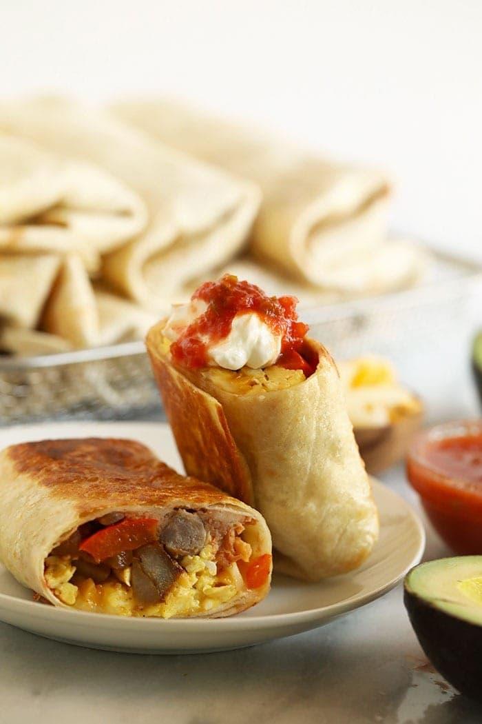 Fajita breakfast burrito on a plate