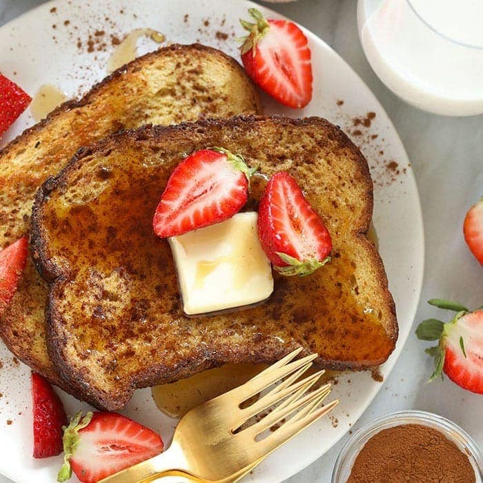 sheet pan french toast on a plate