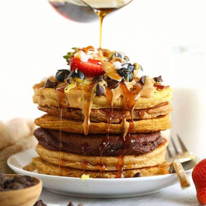 Healthy Pancakes {1 Base Batter – 6 Ways} – Fit Foodie Finds