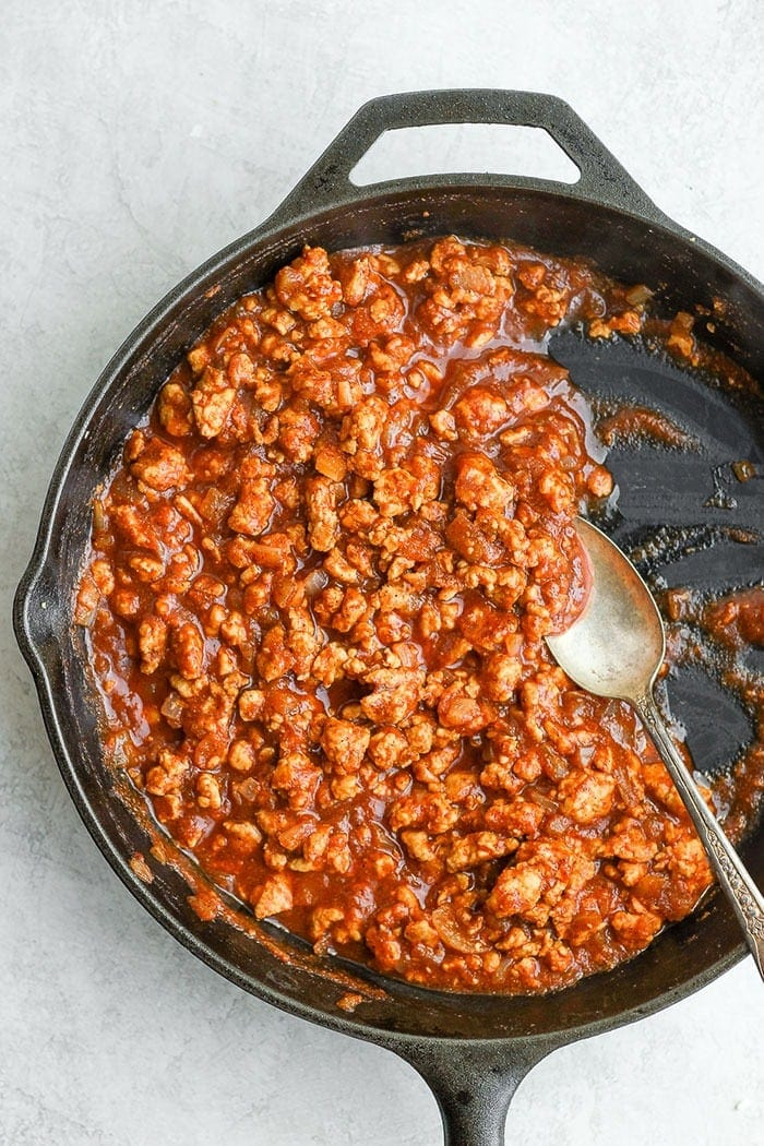 healthy sloppy joes in a skillet