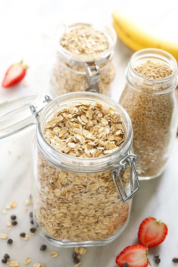 3 kinds of oatmeal in jars