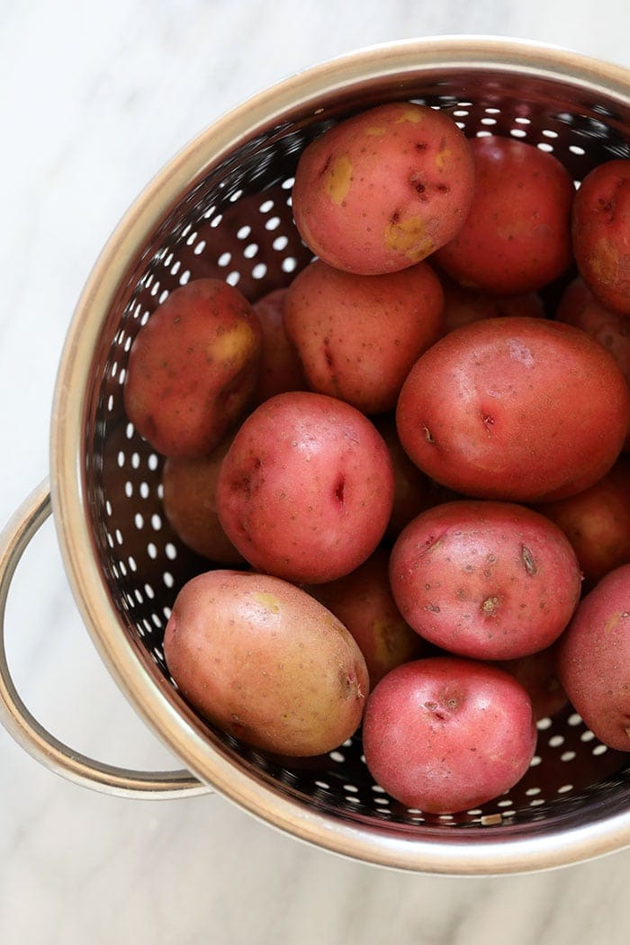 Red potatoes in a colander