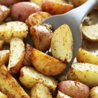 roasted red potatoes on pan
