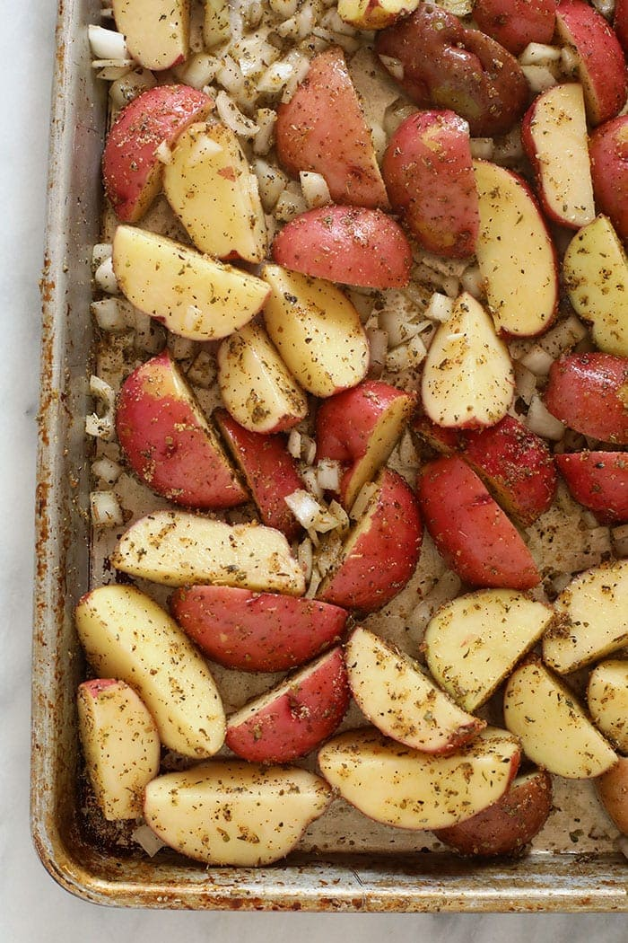 Red potatoes on a baking sheet
