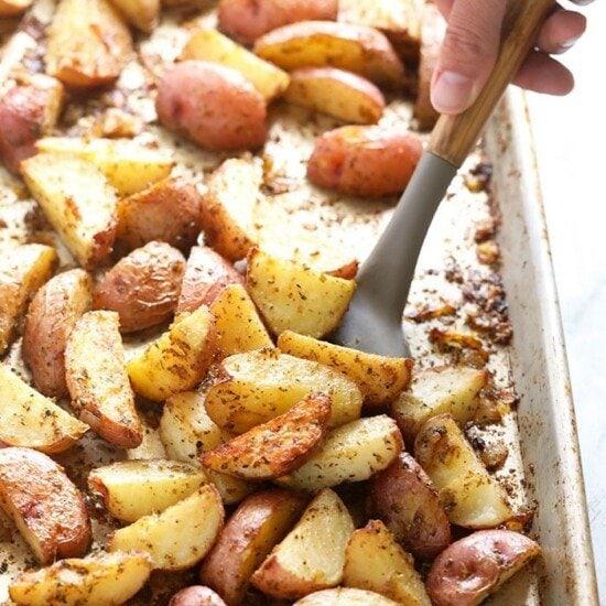 potatoes on baking sheet