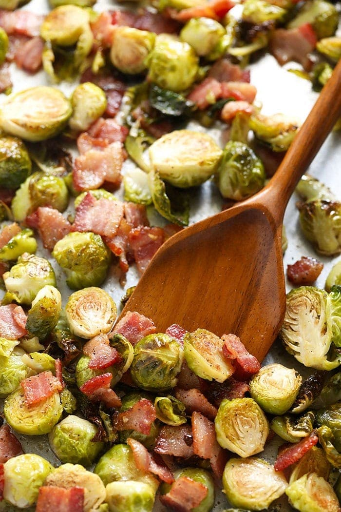 roasted brussels sprouts with bacon on sheet pan